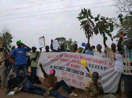 Manifestation des enseignants vacataires de l'école normale supérieure (ENS) devant l'assemblée nationale, le 21 février 2020. Photo CNC / Cyrille Jefferson Yapendé.