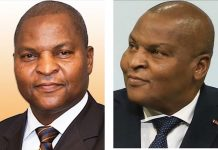 Le chef de l'État Faustin Archange Touadera à gauche et le premier-vice Président de l'Assemblée nationale Jean-Symphorien Mapenzi à droite. Photo combinée par CNC le 25 février 2020