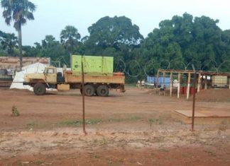 Base de la société Wagner sécurisée par des mercenaires russes au centre-ville de Bria, au centre-nord de la Centrafrique. Créditi photo : CNC.