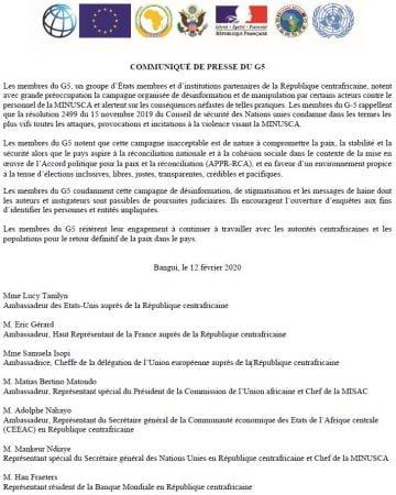 communiqué de presse de l'ambassade de france et de l'union européenne et de la minusca condamnant les campagnes de désinformation de pro touadera