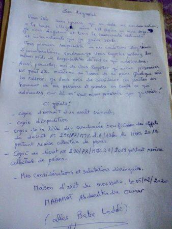 correspondance de Baba Laddé depuis sa prison de Moussoro le 5 février 2020