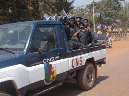 Une patrouille de la compagnie nationale de sécurité (CNS) dans une rue de Bangui. Photo CNC / ickael Kossi