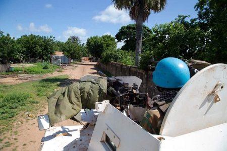 un soldat de la minusca sur un char-blindé lors de l'opération du démantèlement des barrières illégales de l'upc sur axe bambari alindao le 1 février 2020