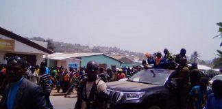 Arrivée à Bouar, dans la préfecture de Nana-Mambéré, le 13 mars 2020 de l'ancien Président de la République François Bozizé. Photo CNC / Cyrille Jefferson Yapendé.