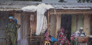des casques-bleus de la Minusca dans le quartier de PK5 de Bangui la capitale de la République centrafricaine