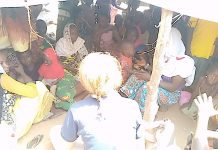 Les personnes déplacées de Ndélé dans le camp situé proche de la base de la Minusca le 10 mars 2020. Photo CNC / CopyrightCNC.