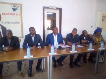 Des leaders de l'opposition démocratique réunis au siège de l'URCA à Bangui le 2 mars 2020. CopyrightDR