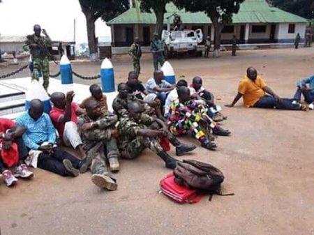Les 16 suspects arrêtés le 28 mars au domicile du ministre de la culture, Dieudonné Ndomaté au quartier Galabadja-Sinistré. CopyrightDR.