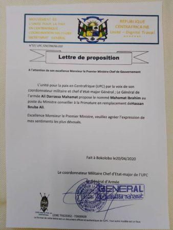 Lettre de proposition du chef rebelle Ali Darassa au premier ministre Firmin Ngrébada pour la nomination de monsieur Mahamat Ibrahim au poste du ministre-conseiller du premier ministre.