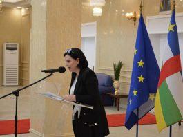 La Cheffe de la délégation de l'UE en Centrafrique, Samuela Isopi. Photo Jefferson Cyrille YAPENDE.