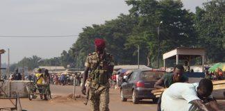 La barrière du PK12 à la sortie nord de Bangui. Photo CNC / Fortuné Bobérang.