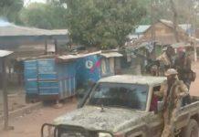 combats de ndélé du 29 avril 2020, des rebelles du FPRC en position des tirs et sur des pick-up