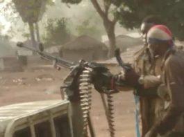 Des rebelles du FPRC à Ndélé, le 29 avril 2020, lors des affrontements avec les combattants du RPRC. Photo CNC / Moïse Banafio