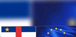 drapeau de l'union européenne combiné avec celui de la république centrafricaine 750x750