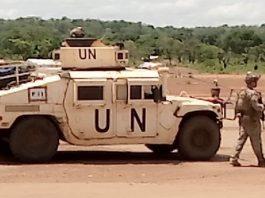 Une patrouille des soldats des forces spéciales portugaises de la Minusca à Ndélé, le 12 mai 2020. Photo CNC / Moïse Banafio.
