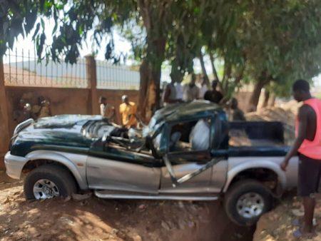 Véhicule impliqué dans l'accident survenu dans la nuit du samedi à dimanche 3 mai 2020 dans lequel deux hommes dont un adjudant FACA ont trouvé la mort. Photo CNC / Anselme Mbata.