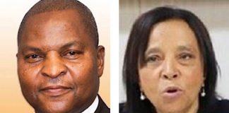 De gauche à droite, le chef de l'État Faustin Archange Touadera et Madame Dominique Darlan, Présidente de la cour constitutionnelle de Centrafrique. Photo montage CNC.