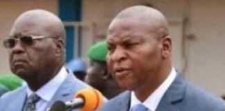 L'ex-premier ministre Simplice Mathieu Sarandji et le chef de l'État Faustin Archange Touadera à Bangui. CopyrightDR.
