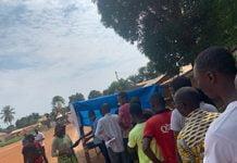 Un centre d'enrôlement des électeurs au quartier Galabadja 3 dans le huitième arrondissement de Bangui. Copyright2020CNC