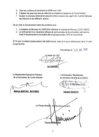 Procès verbal de la réunion du gouvernement avec le chef rebelle Ali Darassa à Bangui du 25 au 27 juillet 2020 page 1