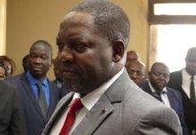 Firmin Ngrébada - Premier ministre centrafricain, lors de la passation de service, le 25 févriers 2019