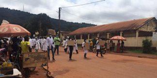 Marche des médecins et chirurgiens à Bangui le 20 août 2020. Photo CNC