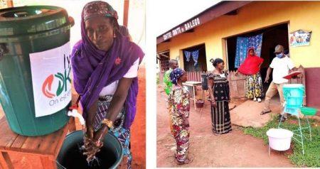 Photo n°1 et 2 : Les dispositifs de lavage des mains sont chargés à Bangui par le personnel de la Croix-Rouge française dans les camions mis à disposition par Humanité et Inclusion - Bangui, RCA, le 2 juillet 2020 puis le 23 juillet 2020. Photo n°3 : Fadimatou Bouba, Présidente de l'association des femmes réfugiées centrafricaines de Nguindi, au Cameroun, effectue une démonstration sur les gestes barrières - Nguindi, Cameroun, le 13 avril 2020 Photo n°4 : Distribution d'un dispositif de lavage des mains au centre de santé de Balego - Balego, RCA, le 16 juillet 2020.
