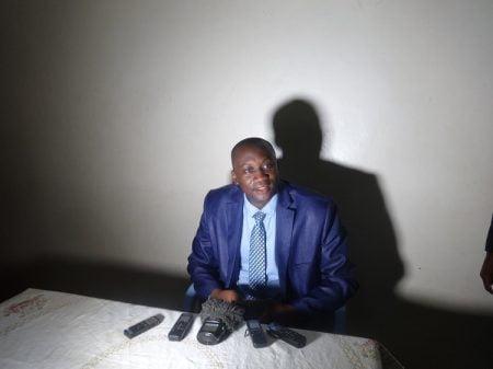 Président du collectif d'alternance politique pour une nouvelle centrafrique le 19 septembre 2020 au siège du parti lors d'un point de presse