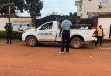 grève des agenrts recenseurs devant le siège de l'autorité nationale des élections (ANE) à Bangui, le vendredi 10 septembre 2020
