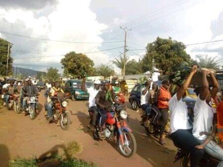 Carnavale des militantes et militants du parti RDC après la fin de la cérémonie de leur cinquième congrès ordinaire le 24 octobre 2020.