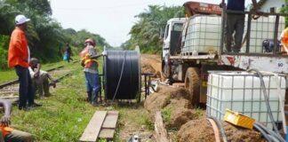 Les travaux d'installation des équipements de la fibre optique à Berbérati dans la Mambéré Kadéï