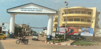 Centre-ville de Bangui avec un arc de zo-koué-zo