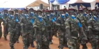 les nouveaux soldats lors de leur sortie à Bouar au nord-ouest cnc 2