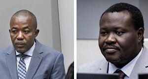 Alfred Yékatom (à gauche) et Patrice-Edouard Ngaïssona (à droite), photographiés les 23 novembre 2018 et 25 janvier 2019, respectivement, lors de leur comparution devant la Cour pénale internationale (CPI) à La Haye, aux Pays-Bas.