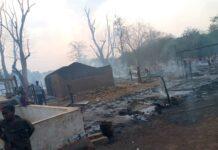 incendie au camp des déplacés de l'église elim le 6 mars 2021