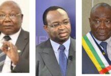 L'opposant Martin Ziguelé, Président du parti MLPC à gauche, puis Anicet Georges Dologuelé, Président du parti URCA, au milieu, et Abdou Karim Meckassoua, Président du parti Chemin de l'Esperance, à droite. Photo combinée par CNC