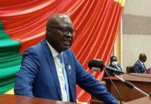 Le Président de l'assemblée nationale Simplice Mathieu Sarandji, le 5 mai 2021. Photo CNC