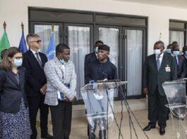 Rencontre du chef de l'État Faustin Archange Touadera avec la délégation de l'union africaine, de l'union européenne, de la CEEAC et des nations unies au palais de la renaissance à Bangui le 4 juin 2021. Photo Minusca africaine