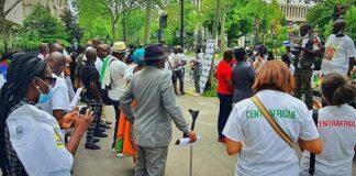 Manifestation de la diaspora centrafricaine à Paris, en France contre la présence des mercenaires de la société russe Wagner sur le territoire centrafricain.