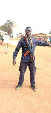 Le gardien de la paix Moutadji arnold Didier, tué dans une explosion de mine terrestre au nord-ouest de la Centrafrique.